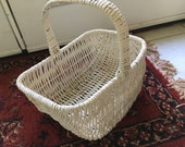 White basket, flower girl basket, wedding basket, flower basket