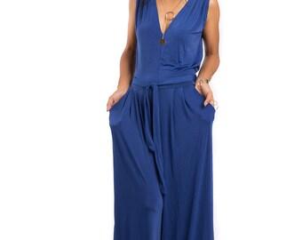 Jumpsuit, Blue Jumper, Royal Blue Sleeveless Jumper Dress : Classy Evening Dress Collection