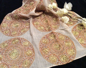 Beautiful Decorative  Vintage Hand Made Cotton Scarf with Rayon and Metallic Embroidered Circles, Vintage Embroidery,