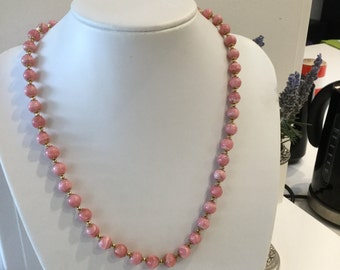 Rhodochrosite Beaded Necklace and Earring Set