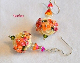 Ivory Peach and Strawberry Floral Earrings,Lampwork Earrings,Dangle Earrings,Colorful Earrings - PEACHES