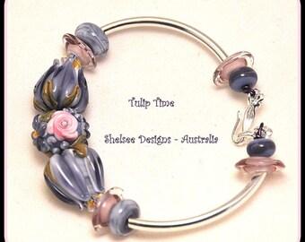 Lavender and Pink Floral Bracelet,Tulip and Roses Bracelet,Floral Bracelet,Flower Jewelry,Colorful Bracelet - TULIP TIME