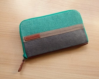 Womens wallet / turquoise and grey medium wallet // gift for her
