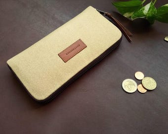 Women wallet // beige waxed canvas women wallet
