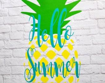 Pineapple Hello Summer Vinyl Decal