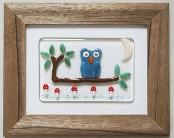 Fused Glass Wall Art Framed Picture - Owl on a Branch