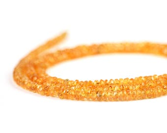 Mandarin Garnet Micro Faceted Rondelles 15 Orange Semi Precious Gemstone