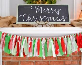 Christmas Banner - Modern Christmas decor- Christmas Garland - Christmas mantle - Christmas backdrop - Modern Christmas - Christmas Decor