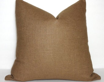 Solid Brown Linen Pillow Cover Decorative Pillow Throw Pillow Brown Pillow Cover 18x18