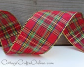 """Christmas Wired Ribbon,  2 1/2"""",  Red, Gold Metallic, Green, Blue Tartan Plaid  - THREE YARDS - Offray """"Dover"""" Wire Edged Ribbon"""
