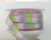 EXTRA Savings CLEARANCE! Ribbon Stitched Squares, Lavender, Parrot Green, White - TEN Yards - May Arts Unwired Craft Ribbon / Sewing Trim /E