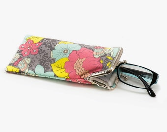 Floral Eyeglasses Case - Reading glasses Case - Yellow Mint and pink cotton fabric - Kiss Lock Silver Frame