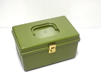 Vintage Green Sewing Box with Tray