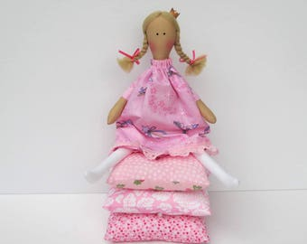 The Princess and the Pea rag doll, fabric doll, cloth doll, fairy tale doll - princess doll pink stuffed doll play set gift for girl