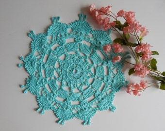 Dance Dolls Lace Crochet Doily in Mint Green