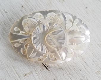 Vintage lovely carved mother of pearl brooch