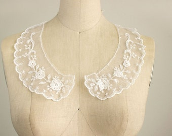 NEW ITEM! White Sheer Embroidered Lace Peter Pan Lace Collar / Peterpan / Mesh Lace / Tulle / Bridal / Wedding