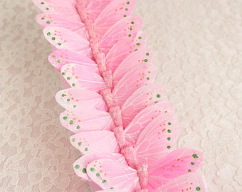 LIGHT PINK Feather Butterflies 12 Monarch Bird Feather Butterflies 3 Inch Wingspan Size / Millinery Supplies / Costume / Bridal Bouquet