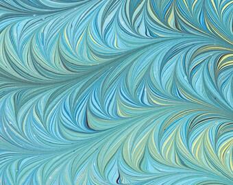 Hand Marbled Paper | Sea Green Vine Pattern | Original Handmade | Art on Water | Bookbinding | Endpaper | Ebru | Marbling | Paper Craft