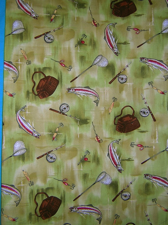 2 yards green fishing theme robert kaufman 100 cotton for Fishing themed fabric