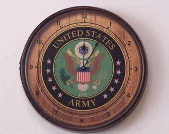 Army Emblem Barrel Head Wall Clock-FREE SHIPPING