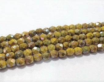 6mm Lemon Nebula Firepolish Glass, 6mm Faceted Yellow Stone Glass, 6mm Firepolish Glass, 6mm Mustard Yellow Firepolish, 6mm Stone Glass