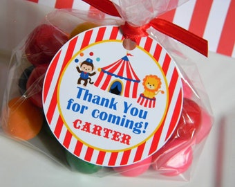 Carnival Circus Birthday Party Personalized Favor Tags, Thank You Tags, Treat Tags, Goody Bags,  Party Favors, Party Decorations, Set of 12