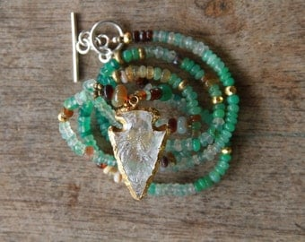 Quartz Crystal Spearhead, 24ct gold plated Pendant, with Opal, Crysoprase, 24t gold-plated Hematite, Green Amethyst & sterling silver clasp.