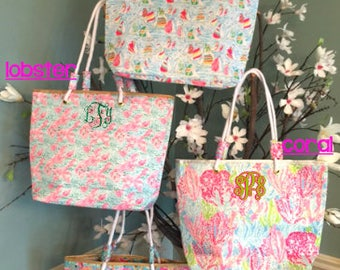 Personalized Preppy Beach/Tote Bag with rope handles, Monogrammed Tote Bag -- Great for Graduation, Bridesmaids, Teacher Gifts!