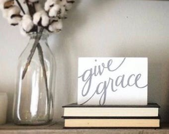 Small Hand painted 'give grace' on Reclaimed Wood