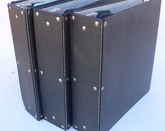 vintage notebooks, 3 ring binders, exposed hinges, group of 3, black, from Diz Has Neat Stuff