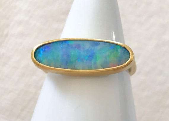 Boulder opal and 22k solid gold ring