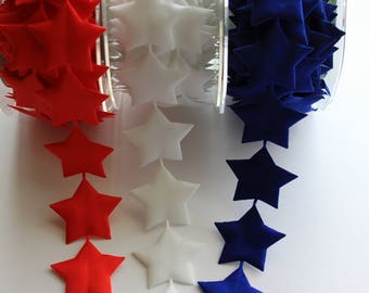 "1 1/2"" Satin Star Garland - Royal Blue, Red or White"