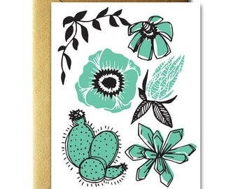 Cacti and Poppy Card