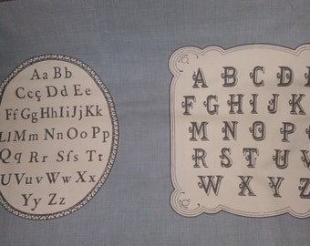 La Petite Ecole by French General  for Moda oop denim blue colored background with vintage eye charts