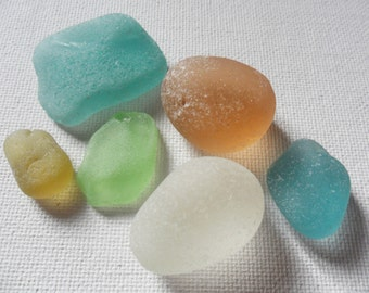 Pretty pastel sea glass collection - white seafoam yellow peach green 6pc found in England