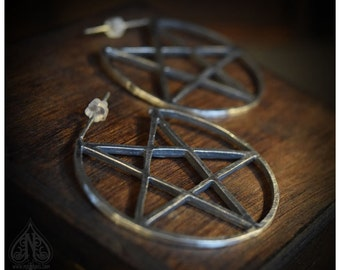 "Sterling Silver earrings pentacle ""Bewitched"" big size"