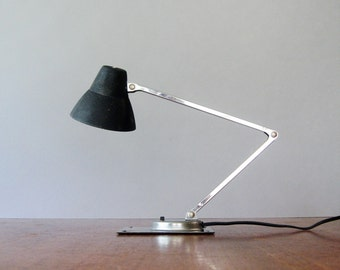 Mid Century Tensor Black / Chrome Adjustable Desk / Task Lamp