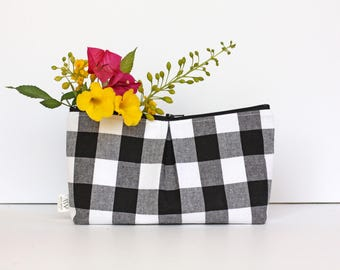 Gingham, Buffalo Check Clutch, Zipper Pouch, Bag, Women Purse, Bridesmaid Gift, Pencil Pouch,  Accessories, Clutch, Gift for Her, Organizer