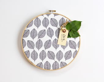 Leaves Cork Board, Bulletin Board, Embroidery Hoop, Office Decor,  Organizer, Wall Art, Home Office, Home Decor, Modern Home Decor, Black