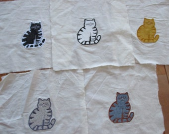 set of 5 Cats applique quilt squares