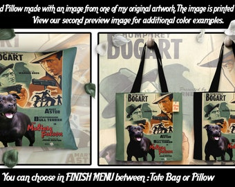 Staffordshire Bull Terrier Art Pillow or Tote Bag/Dog Tote Bag/Dog Pillow/Dog Art/Custom Dog Portrait/The Maltese Falcon Movie Poster