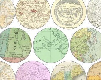 """Vintage Map Circle Digital Download Cabochon, Pendant, 2"""", 50mm, 2 inch, Collage Sheet. Will resize to any size you need."""
