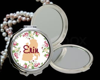 Personalzied Compact Pocket Mirror | Beauty And The Beast Compact Mirror | Bridesmaid Gift | Batchelorett Party Favor | Lovebirdslane