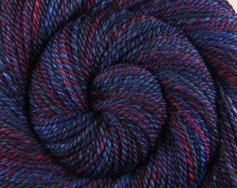 Luxury Handspun Yarn - STRANGE WISHES - Handpainted 70/30 Oatmeal BFL/Tussah Silk, 2 ply Worsted weight, 228 yds