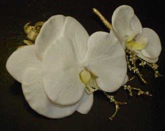 Prom Wrist Corsage and Man's Boutonniere. REAL TOUCH White ORCHIDS, Gold and Pearl Accents, Gold Glitter and Bow. Phaleonopsis Orchid.