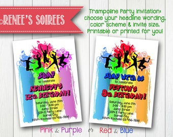 TRAMPOLINE or DANCE Party Invitation - Printable Birthday Invite - for Boys or Girls - Bounce House Party - Personalized DIY
