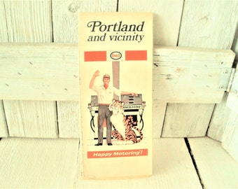 Vintage Portland Oregon Map Travel City Roads Folding 1970 Free Shipping Us