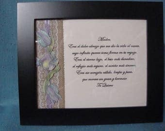"Framed ""Te Quiero"" Poem in Spanish"