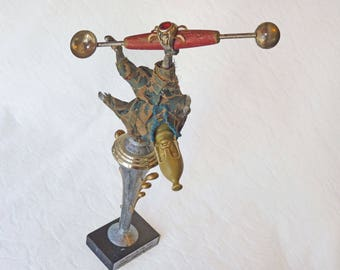 Fallen Warrior, altered figurine, Susan Sanford assemblage with chess piece